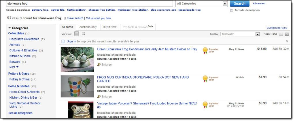 Ebay search sample