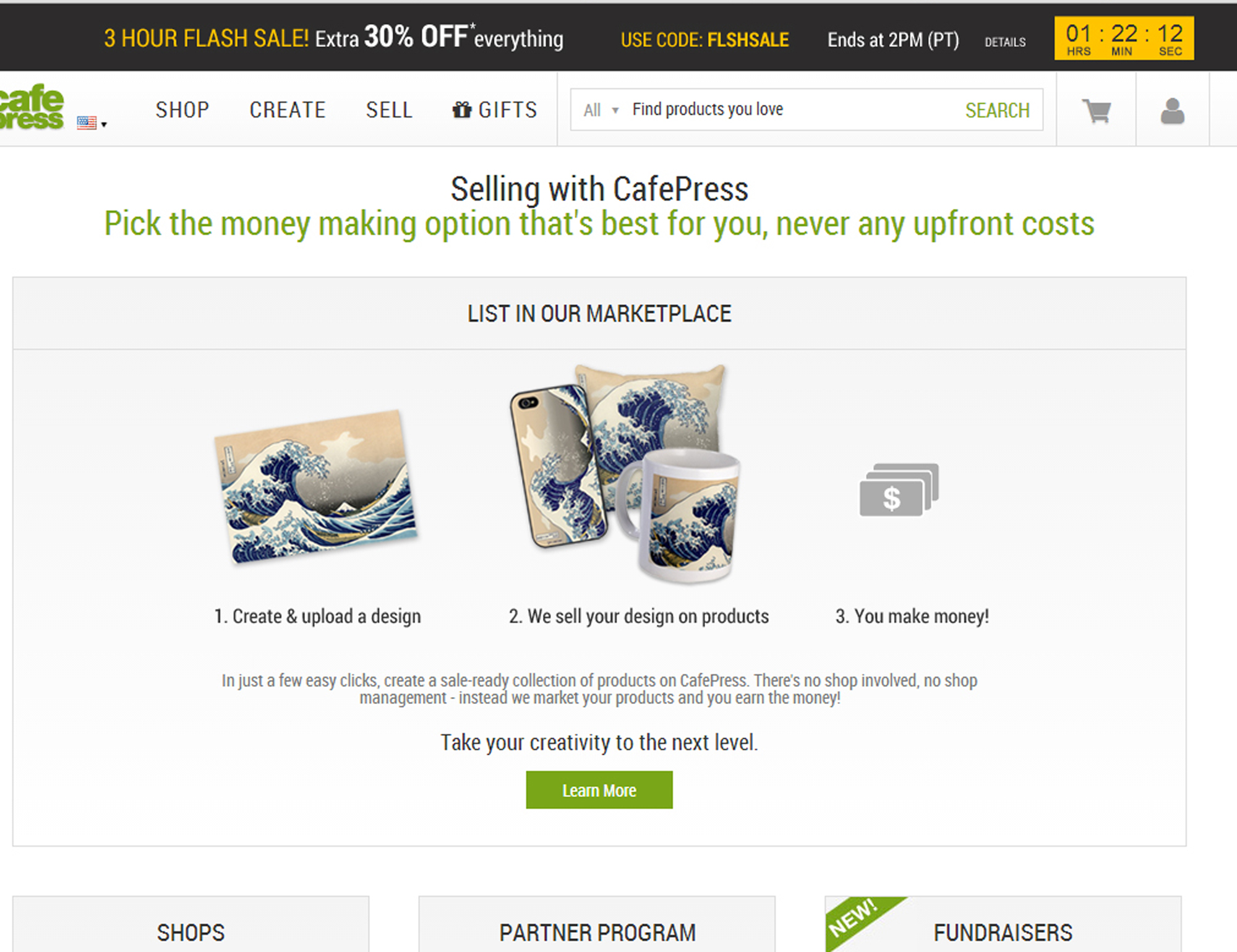 Cafe Press Home Page