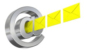 one email symbol with some envelopes that go out or enter (3d render)